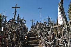 Hill of Crosses, Å iauliai, Lithuania. Hill of Crosses, near city Å iauliai in Lithuania is very famous places, where on old mass grave people brings a stock images