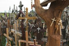 Hill of Crosses III. Thousands of crosses mark individual demonstrations of faith at the Hill of Crosses outside Siauliai in Western Lithuania Royalty Free Stock Photos
