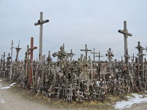 Hill of the crosses, Lithuania. The hill of the Crosses  Kryziu kalnas   in Lithuania, one of the most important pilgrimage sights near Siauliai town Royalty Free Stock Image