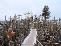 Hill of the crosses, Lithuania. The hill of the Crosses  Kryziu kalnas   in Lithuania, one of the most important pilgrimage sights near Siauliai town Stock Images