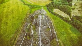 Hill of Crosses, Lithuania. Overhead downward aerial view.  stock photos