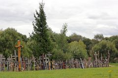 The hill of crosses in Lithuania stock photography