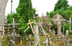Hill of crosses in Lithuania stock images