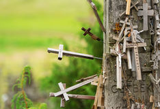 Hill of crosses in Lithuania stock image