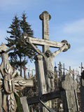 Hill of Crosses. In Lithuanian. Thousands of crosses of Jesus. A religious pilgrimage site Royalty Free Stock Images