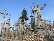 Hill of Crosses. In Lithuanian. Thousands of crosses of Jesus. A religious pilgrimage site Royalty Free Stock Photography