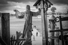 Hill of Crosses, near Siauliai, Lithuania. BW photo from the top of the hill Stock Photography