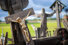 Hill of Crosses, near Siauliai, Lithuania, detail. Photo of a little crucifix Royalty Free Stock Photos
