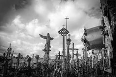Hill of Crosses, near Siauliai, Lithuania. At the top of the hill, under a crucifix Stock Photo