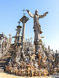 Hill of crosses. The hill of the Crosses is one of the most important pilgrimage sights of the Baltic region, the site located near the town of Siauliai in Stock Image