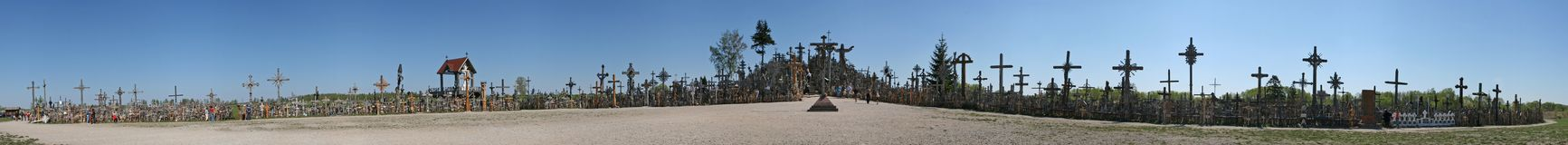 Hill of crosses panorama. Hill of crosses, Siauliai, Lithuania Royalty Free Stock Photography
