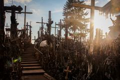 Hill of the Crosses - sun have see our camera stock images