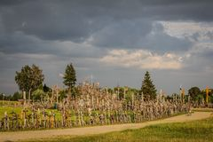 Hill of the Crosses - Dark Clouds stock photos