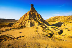 Hill at desert landscape of bardenas reales natural park Royalty Free Stock Photography