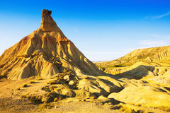 Hill at desert landscape of bardenas reales natural park Royalty Free Stock Images