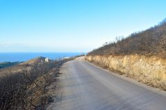 The hill after fire. Slope of the hill after fire, Zakynthos Island, Greece stock photo