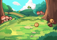 Hill in Forest. Video Game`s Digital CG Artwork, Concept Illustration, Realistic Cartoon Style Background vector illustration