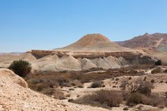 The hill in the form of a flying saucer in the Negev desert Royalty Free Stock Photo