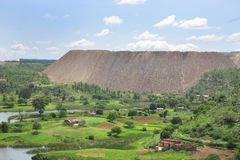 Hill formed by the overburden removed from a mine Stock Photography