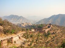 A Hill Fort in Amer, Jaipur, Rajasthan, India Stock Photo