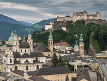 The hill fort Hohensalzburg and the city Royalty Free Stock Images
