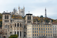 Hill of Fourviere. Cathedral Saint-Jean with basilica of Fourviere in background, Lyon stock image