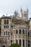 Hill of Fourviere. Cathedral Saint-Jean with basilica of Fourviere in background, Lyon royalty free stock photo