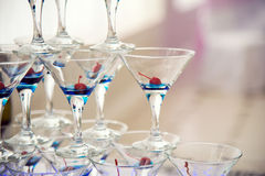 Hill of glasses of wine and cherries. Stock Photos