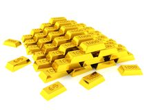 Hill of golden bars Stock Image