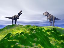 Hill green and dinosaur Stock Images