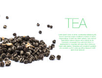 Hill of green tea on white background with text Stock Images
