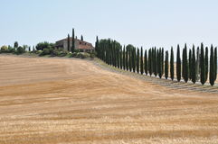 Hill after the harvest. Val d Orcia, Tuscany Royalty Free Stock Photos