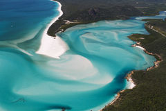 Hill Inlet - Aerial View. Hill Inlet, Whitsunday Island at the tip of Whitehaven Beach, Queensland, Australia. Aerial View Royalty Free Stock Photography