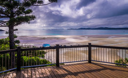 Hill Inlet Lookout at Whitsunday Island, Australia. Hill Inlet Lookout overlooking Whitehaven beach at Whitsunday Island near Airlie Beach, Australia. The Royalty Free Stock Photography