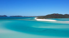 Hill Inlet Whitehave Beach Whitsundays. Landscape view from Hill Inlet lookout across to pure clean sand of Whitehaven Beach Whitsundays Royalty Free Stock Image