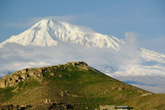 Hill landscape with Ararat mountain at background. Hill landscape at morning in Armenia with Ararat mountain at background stock photography