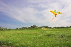 Hill landscape with kite in the sky Royalty Free Stock Photography