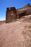 Hill lanzarote  spain  old wall castle and door   teguise arreci Royalty Free Stock Photos