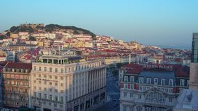 The hill of Lisbon Alfama - aerial view stock video footage
