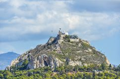 Hill lycabettus athens. Closeup of the Lycabettus hill from where you can appreciate the city of Athens Royalty Free Stock Photo