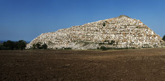 The hill. A hill made ​​up of stones from a quarry waste Royalty Free Stock Image