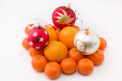 Hill mandarin decorated Christmas toys Royalty Free Stock Photo