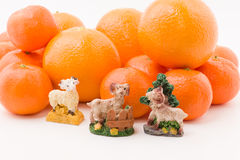 Hill mandarin with figurines Royalty Free Stock Photography