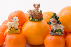 Hill mandarin with figurines Royalty Free Stock Image