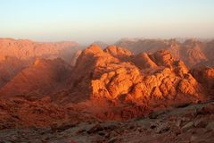 Hill of Moses (Gebel Musa). Moses peak (2285 m) in sunrise, also known as Gebel Musa or Jebel Musa in Egypt, on Mt Sinai, Sinai peninsula Stock Photos