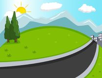 Hill, mountain and road background cartoon Stock Photo