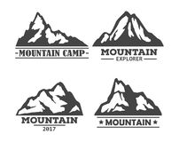 Hill or mountain, rock silhouette icons set. Royalty Free Stock Photos