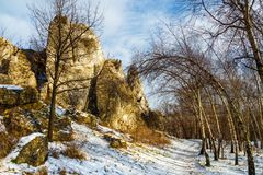 Hill of Ogrodzieniec castle stock images