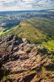Hill overlooking the city - great for a hike stock photography