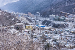 On a hill overlooking the kangding city Stock Photo